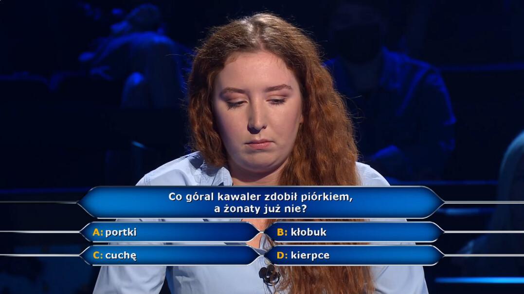"""Co góral kawaler zdobi piórkiem, a żonaty już nie? Pytanie w """"Milionerach"""" za 20 tysięcy złotych"""
