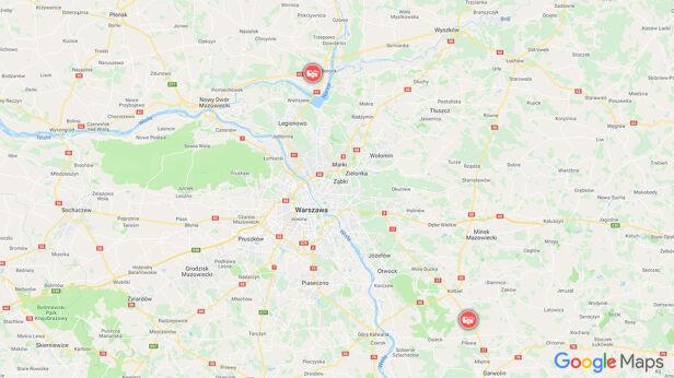 Poważne wypadki w Warszawie  Google Maps