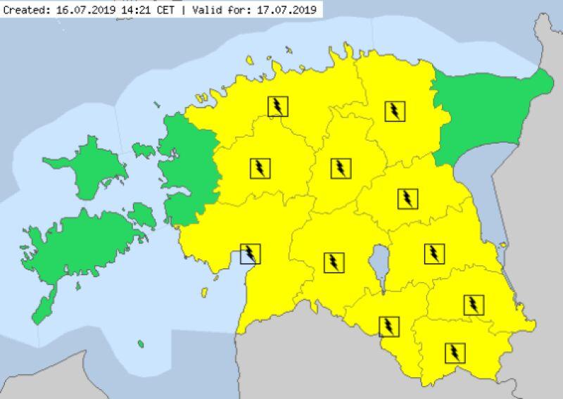 Ostrzeżenia meteorologiczne w Estonii (meteoalarm.eu)