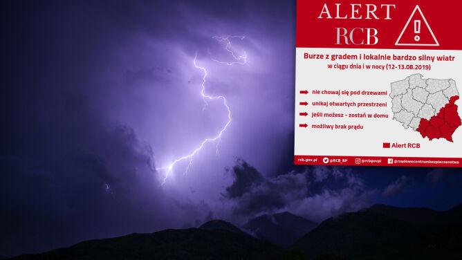 Uwaga na gwałtowne burze. Alert RCB: unikaj otwartych przestrzeni