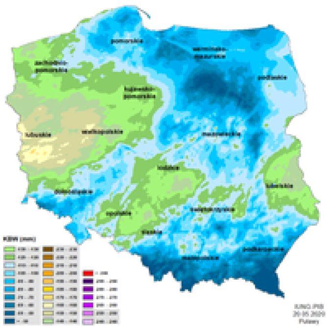Susza rolnicza w Polsce - stan z 20 maja 2020 roku (IUNG)
