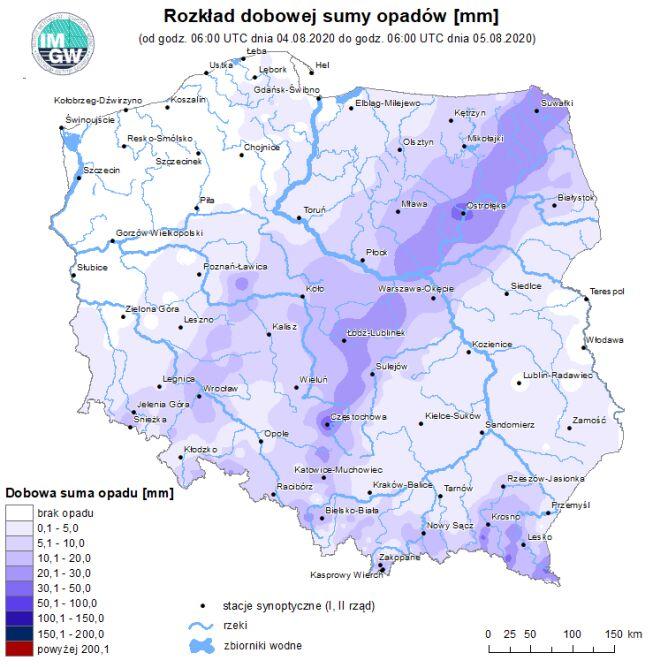 Dobowa suma opadów w Polsce (IMGW)