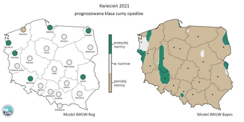 Prognozowana klasa miesięcznej sumy opadów w kwietniu 2021 r. według modelu IMGW-Reg i IMGW-Bayes (IMGW)