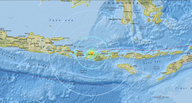 Trzęsienie ziemi na wyspie Lombok (USGS)