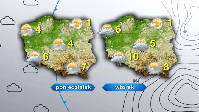 Pogoda w poniedziałek i wtorek