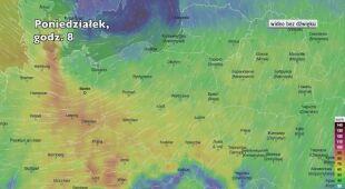 Prognozowane porywy wiatru w najbliższych godzinach (Ventusky.com)